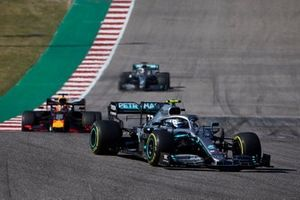 Valtteri Bottas, Mercedes AMG W10, leads Max Verstappen, Red Bull Racing RB15 and Lewis Hamilton, Mercedes AMG F1 W10