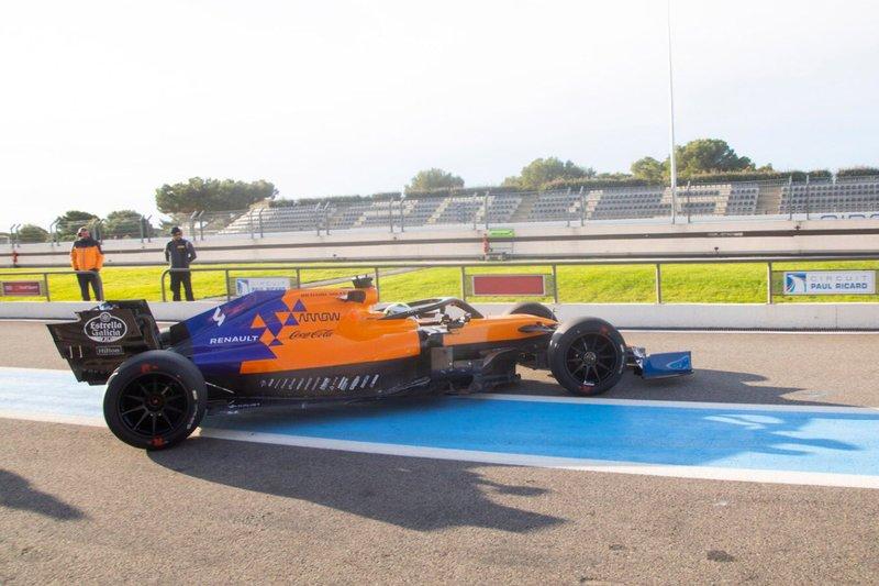 Lando Norris, McLaren with 2021 18-inch tyres