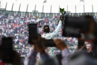 Lewis Hamilton, Mercedes AMG F1, 1st position, celebrates with his trophy