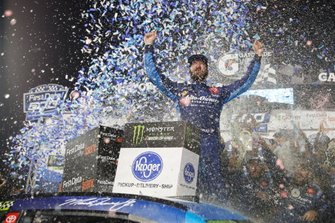 Martin Truex Jr., Joe Gibbs Racing, Toyota Camry Auto Owners Insurance celebrates winning the First Data 500 at Martinsville Speedway.