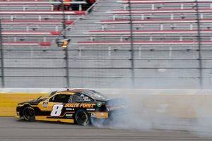 Daniel Hemric, JR Motorsports, Chevrolet Camaro South Point Hotel & Casino, wrecks on the front straightaway.