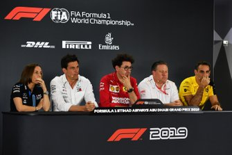 Claire Williams, Deputy Team Principal, Williams Racing, Toto Wolff, Executive Director (Business), Mercedes AMG, Mattia Binotto, Team Principal Ferrari, Zak Brown, Executive Director, McLaren, and Cyril Abiteboul, Managing Director, Renault F1 Team