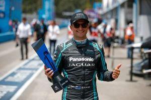 Mitch Evans, Panasonic Jaguar Racing, with the pole position award