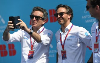 Alejandro Agag, Chairman of Formula E with Jamie Reigle, Formula E CEO on the podium