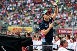 Sergio Perez, Racing Point, waves to his home fans