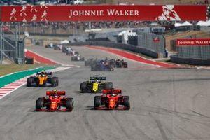 Charles Leclerc, Ferrari SF90, battles Sebastian Vettel, Ferrari SF90 ahead of Daniel Ricciardo, Renault F1 Team R.S.19 and Lando Norris, McLaren MCL34