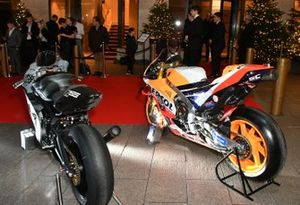 Moto GP bikes on display outside the venue