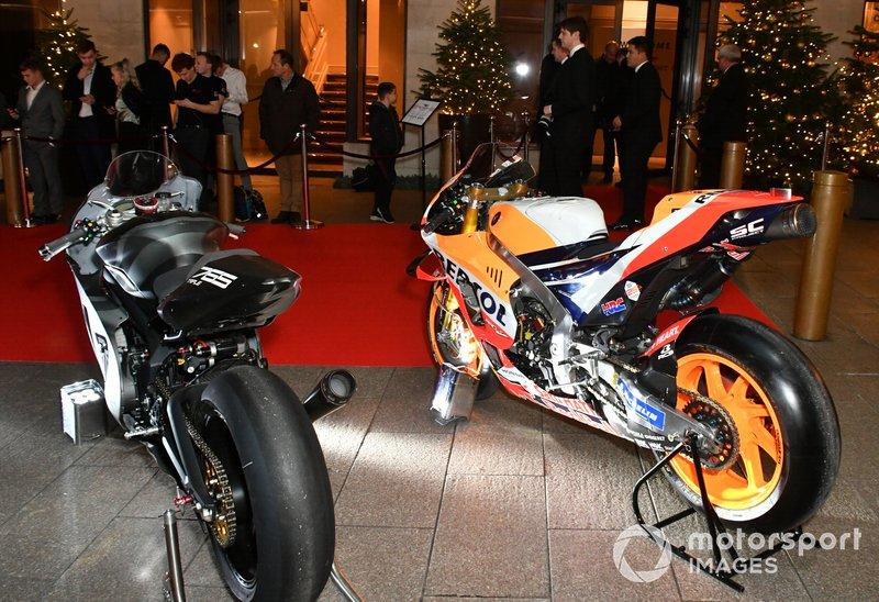 Moto GP bikes on display outside the venue