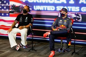 Lewis Hamilton, Mercedes, 2nd position, and Max Verstappen, Red Bull Racing, 1st position, in the Press Conference