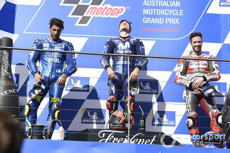 Podium: 1. Maverick Viñales, Yamaha Factory Racing, 2. Andrea Iannone, Team Suzuki MotoGP, 3. Andrea Dovizioso, Ducati Team