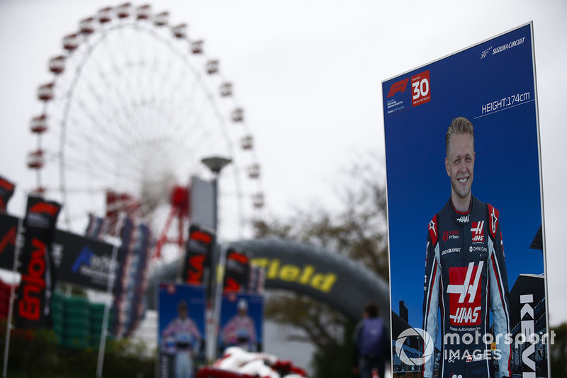 Photo board of Kevin Magnussen, Haas F1 Team