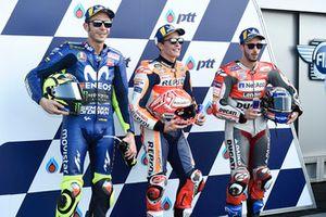 Le poleman Marc Marquez, Repsol Honda Team, Valentino Rossi, Yamaha Factory Racing, Andrea Dovizioso, Ducati Team