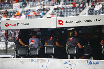 The Haas F1 team on the pit wall