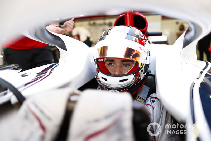 Charles Leclerc, Sauber, in cockpit