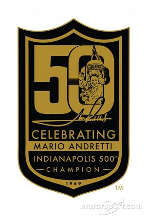 Mario Andretti 50th celebration logo