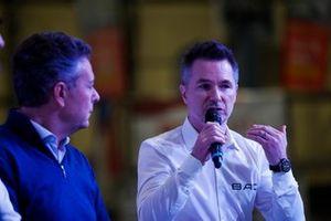 BAC Mono representatives and Mario Isola of Pirelli talk on the Autosport Stage