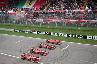Andrea Bertolini, Ferrari F60, Giancarlo Fisichella, Ferrari F60, Davide Rigon, Ferrari F60 e Marc Gené, Ferrari F60