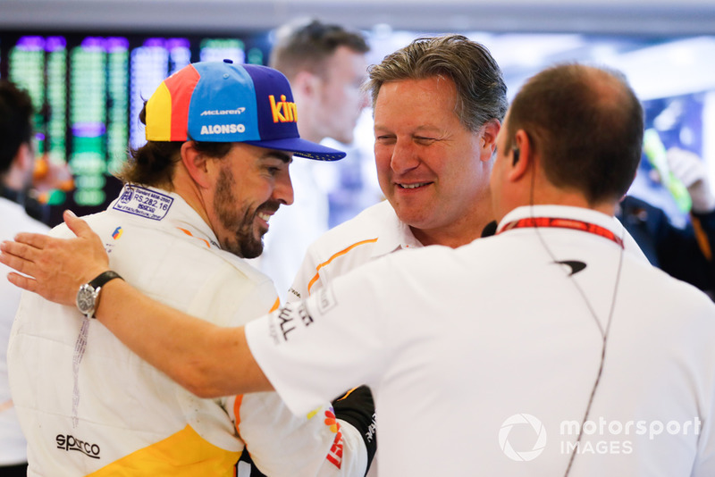 Fernando Alonso, McLaren, Zak Brown, Executive Director, McLaren Racing