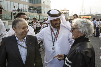 Jean Todt, FIA President, Mohammed Bin Sulayem and Bernie Ecclestone on the grid