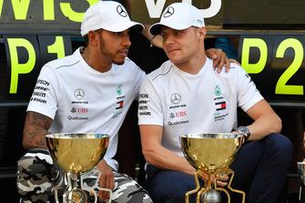 Race winner Lewis Hamilton, Mercedes AMG F1 and Valtteri Bottas, Mercedes AMG F1