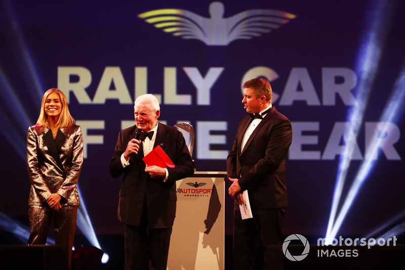 Paddy Hopkirk on stage to present the Rally Car of the Year Award