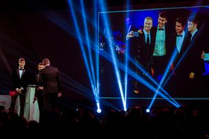 Williams F1 Driver George Russell, and McLaren F1 driver Lando Norris on stage to present the National Racing Driver Award look back on their stage selfie from the 2017 awards