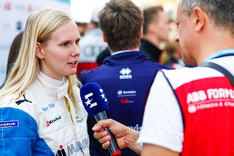 Beitske Visser, BMW I Andretti Motorsports., talks to the press