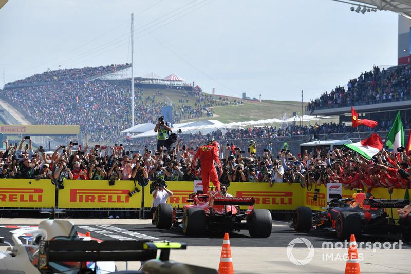 Race winner Kimi Raikkonen, Ferrari SF71H celebrates in Parc Ferme