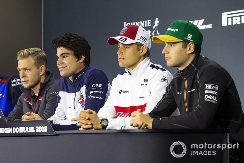 Kevin Magnussen, Haas F1 Team, Lance Stroll, Williams Racing, Marcus Ericsson, Sauber et Stoffel Vandoorne, McLaren en conférence de presse