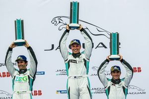 The PRO class podium: Winner Simon Evans, Team Asia New Zealand, second place Sérgio Jimenez, Jaguar Brazil Racing, third place Bryan Sellers, Rahal Letterman Lanigan Racing