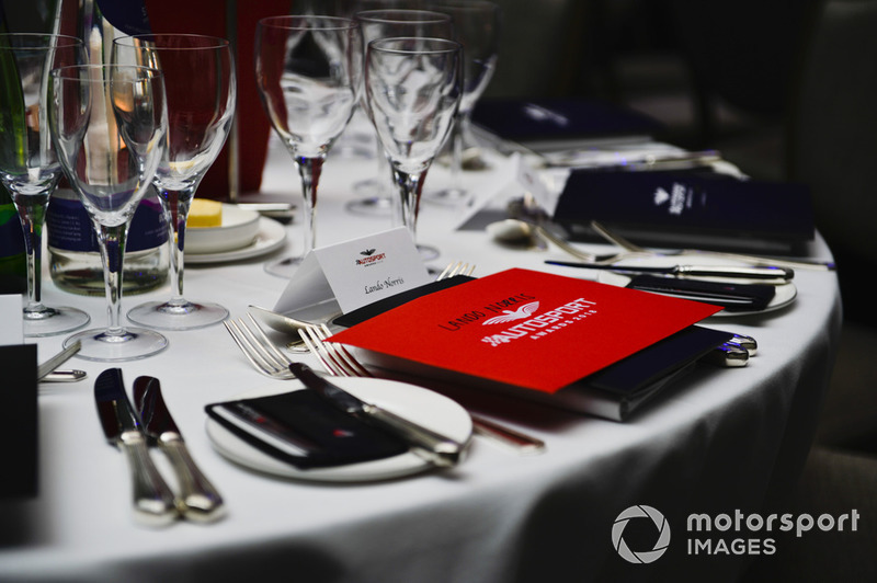 Table setting for Lando Norris