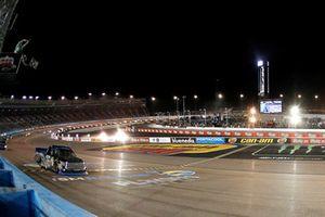 Brett Moffitt, Hattori Racing Enterprises, Toyota Tundra KOBE drives under the checkered flag to win