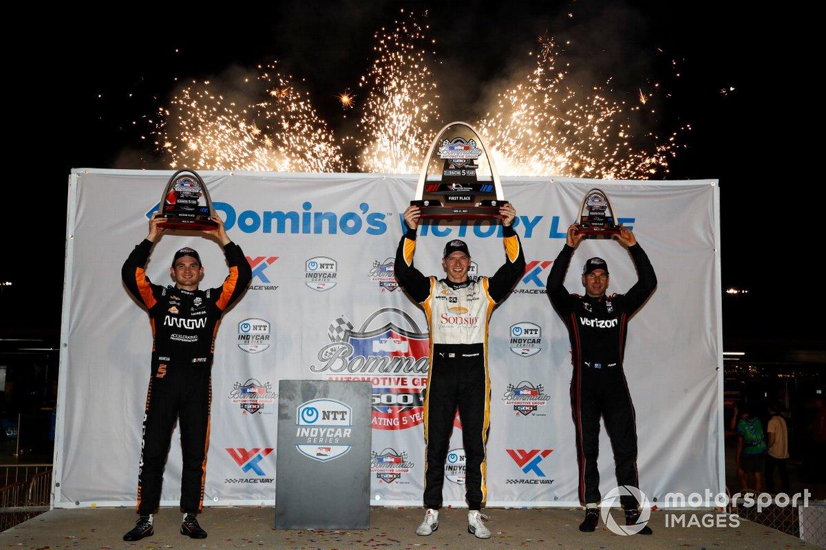 Josef Newgarden, Team Penske Chevrolet, Victory Lane, Patricio O'Ward, Arrow McLaren SP Chevrolet, Will Power, Team Penske Chevrolet