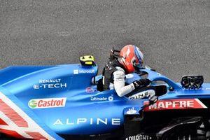 Esteban Ocon, Alpine F1, stopt op de grid aan het einde van VT2