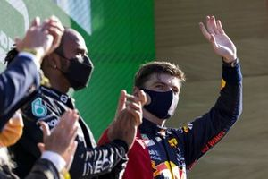 Max Verstappen, Red Bull Racing, 1st position, waves from the podium
