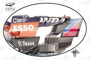 Детали заднего антикрыла Red Bull RB16B, Гран При Бельгии