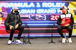 Esteban Ocon, Alpine F1, and Antonio Giovinazzi, Alfa Romeo Racing, in the Press Conference