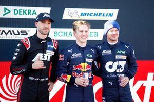 Top 3 after Qualifying, Kelvin van der Linde, Abt Sportsline, Pole sitter Liam Lawson, AF Corse, Nick Cassidy, AF Corse