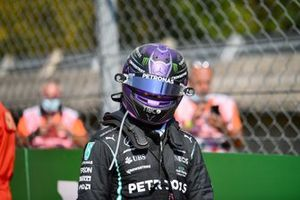 Lewis Hamilton, Mercedes, walks away from the scene of the accident
