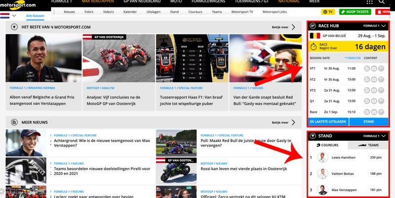 Nieuwe features van Motorsport.com