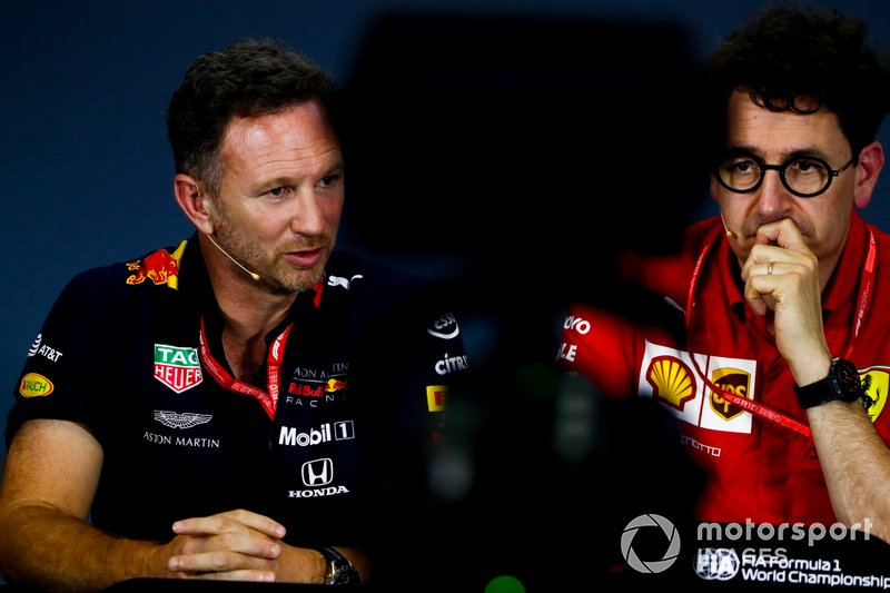 Christian Horner, Team Principal, Red Bull Racing, and Mattia Binotto, Team Principal Ferrari, in the Press Conference