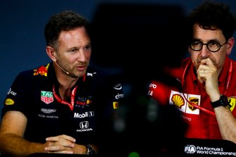 Christian Horner, Team Principal, Red Bull Racing, e Mattia Binotto, Team Principal Ferrari, alla conferenza stampa