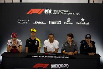 Antonio Giovinazzi, Alfa Romeo Racing, Daniel Ricciardo, Renault F1 Team, Lewis Hamilton, Mercedes AMG F1, Lando Norris, McLaren and George Russell, Williams Racing In the Press Conference