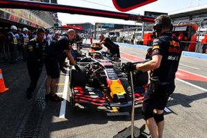 Max Verstappen, Red Bull Racing RB15, in the pit lane