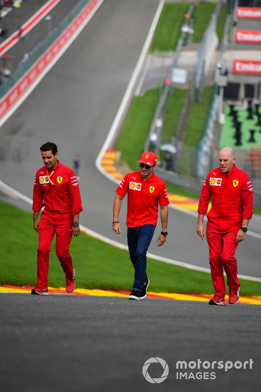 Charles Leclerc, Ferrari, walks the track with Jock Clear, Race Engineer, Ferrari.