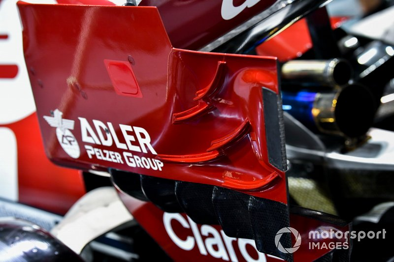 Rear wing aero detail on Alfa Romeo Racing C38