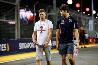 Lance Stroll, Racing Point walks the track with Loïc Duval