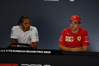 Lewis Hamilton, Mercedes AMG F1, 1st position, and Charles Leclerc, Ferrari, 3rd position, in the Press Conference