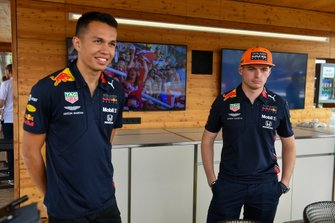 Alexander Albon, Red Bull, and Max Verstappen, Red Bull Racing