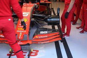 Detalle delantero del Ferrari SF90 de Sebastian Vettel